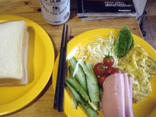サンドイッチの朝食